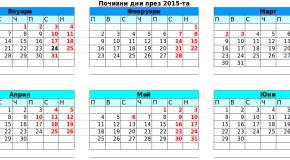 Почивните дни през 2015 година и дати за отработване