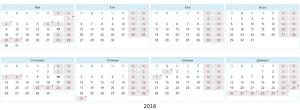 Почивни дни и учебни дни през 2016